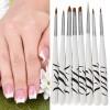 Nail Art & Stiker Kuku - Brush Kutek Kuku Zebra Nail Art 8PCS - White
