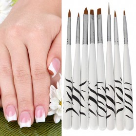 Nail Art & Stiker Kuku - Brush Kutek Kuku Zebra Nail Art 8 PCS - White