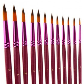 Zhu Ting Brush Kuas Lukis Gambar 12 PCS - Purple