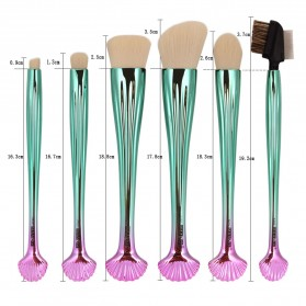 Shell Brush Make Up 7 Set - Green - 7