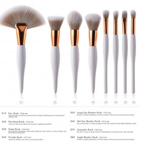 Maquiagem Brush Make Up 8 Set - T-08-050 - White/Gold - 3