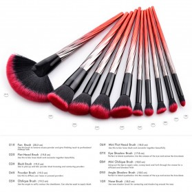 Gradient Handle Brush Make Up 10 Set - Red - 2