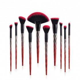Gradient Handle Brush Make Up 10 Set - Red - 3