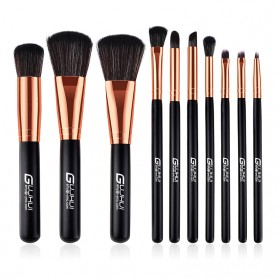 Wooden Brush Make Up 10 Set - Black