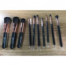 Wooden Brush Make Up 10 Set - Black - 2