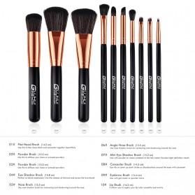 Wooden Brush Make Up 10 Set - Black - 4