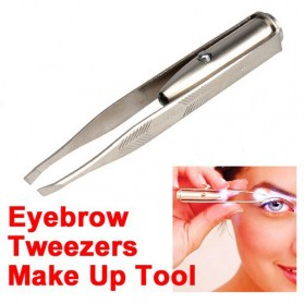 Pinset Pencabut Alis Eyebrow Tweezer with LED Light - BFT007 - Silver