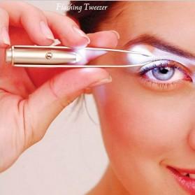 Pinset Pencabut Alis Eyebrow Tweezer with LED Light - BFT007 - Silver - 2