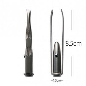 Pinset Pencabut Alis Eyebrow Tweezer with LED Light - BFT007 - Silver - 10