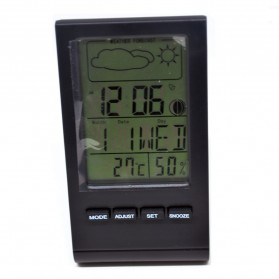 Digital Multifunction Thermometer and Hygrometer with Clock Alarm, Date, Week Calender - DTH-22 - Black