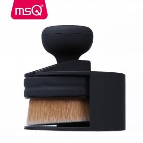MSQ Kuas Make Up Circle Shape Foundation Brush 35 Angle with Stand - Black - 2