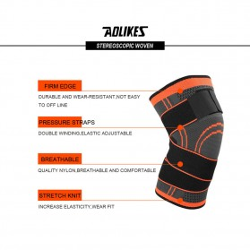 AOLIKES Pelindung Lutut Olahraga Knee Support Fitness Size L - A-7720 - Black - 6