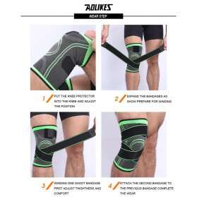 AOLIKES Pelindung Lutut Olahraga Knee Support Fitness Size L - A-7720 - Black - 7