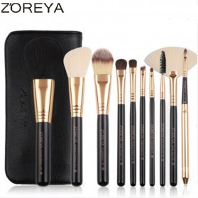 Zoreya Brush Make Up 10 Set dengan Pouch - Black