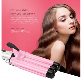 AOFEILEI Catok Rambut Triple Barrels Wave Curly Hair - X8822C - Pink - 3