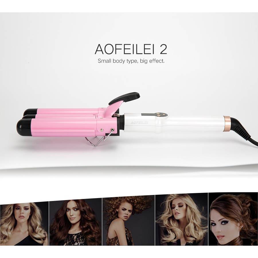 Aofeilei Catok Rambut Triple Barrels Wave Curly Hair X8822c Pink Air Styler Sisir 2