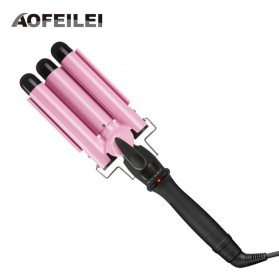 AOFEILEI Catok Rambut Triple Barrels Wave Curly Hair - X8822A - Pink - 1