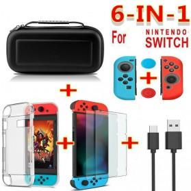 WANKANLAN Aksesoris Set Nintendo Switch 6 in 1 Case + Cover + Screen Protector + USB Cable - WK021 - Black