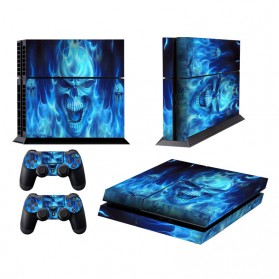 Stiker Game Console PVC Skull Skin for PS4 - Blue