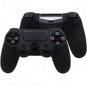 Silicone Cover Skin Case with Thumb Cover for Playstation Dualshock 4 - Black