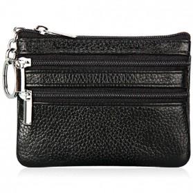 Dompet Pouch Kulit Elegan Double Zipper - Black