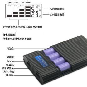 DIY Power Bank Case 4x18650 2 USB Port + Lightning Port with LED Flashlight - M3 - Black - 2
