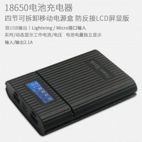 DIY Power Bank Case 4x18650 2 USB Port + Lightning Port with LED Flashlight - M3 - Black - 4