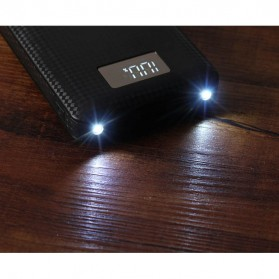 DIY Power Bank Case 7x18650 3 USB Port LCD Display with LED Flashlight - B030 - Black - 4