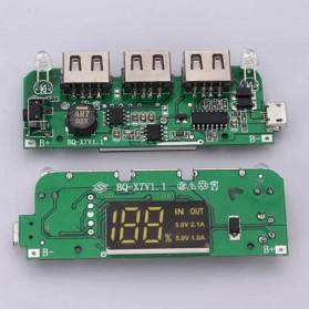 DIY Power Bank Case 7x18650 3 USB Port LCD Display with LED Flashlight - B030 - Black - 5