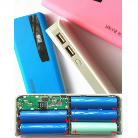 DIY Power Bank Case 5x18650 2 USB Port with LCD Display - N5 - Blue