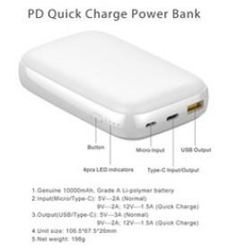 GARAS Power Bank USB Type C PD Charging QC3.0 10000mAh - PP-1003 - Black - 6