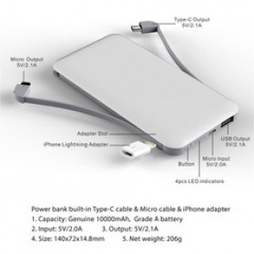 Rock Power Bank Built in Cable Type C + Micro USB + Lightning Adapter 10000mAh - PP1015 - White - 2