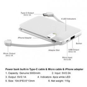 ANKUX Power Bank Built in Cable 3in1 5000mAh - PP510 - White - 5