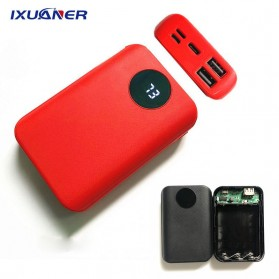 IXUANER DIY Power Bank Case 3x18650 2 USB Port + 3 Input Type-C Lightning Micro USB - IR24 - Black