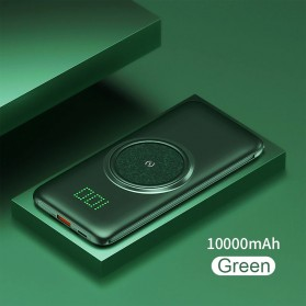 PINZHENG Qi Wireless Charger Power Bank 1 Port USB 10000mAh with Micro + Lightning + USB Type C Cable - P1 - Green
