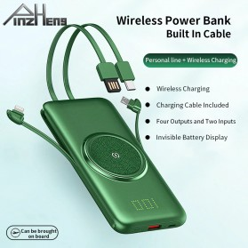PINZHENG Qi Wireless Charger Power Bank 1 Port USB 10000mAh with Micro + Lightning + USB Type C Cable - P1 - Green - 3