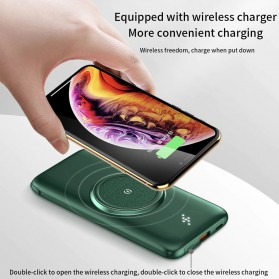 PINZHENG Qi Wireless Charger Power Bank 1 Port USB 10000mAh with Micro + Lightning + USB Type C Cable - P1 - Green - 4