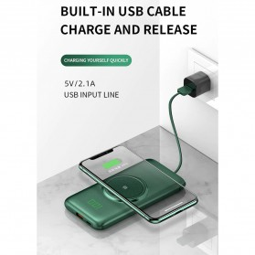 PINZHENG Qi Wireless Charger Power Bank 1 Port USB 10000mAh with Micro + Lightning + USB Type C Cable - P1 - Green - 5