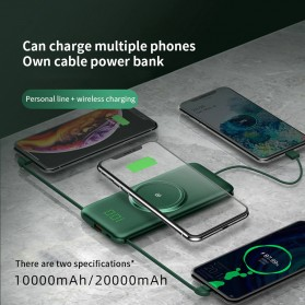 PINZHENG Qi Wireless Charger Power Bank 1 Port USB 10000mAh with Micro + Lightning + USB Type C Cable - P1 - Green - 6