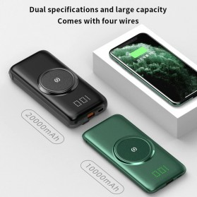 PINZHENG Qi Wireless Charger Power Bank 1 Port USB 10000mAh with Micro + Lightning + USB Type C Cable - P1 - Green - 7