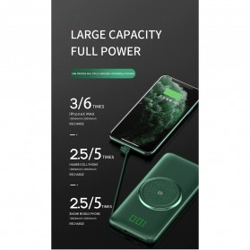 PINZHENG Qi Wireless Charger Power Bank 1 Port USB 10000mAh with Micro + Lightning + USB Type C Cable - P1 - Green - 8