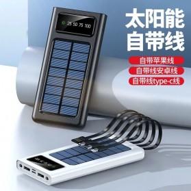 HAIMAITONG Power Bank Solar Power 2 Port USB LED 20000mAh with Micro + Lightning + USB Type C Cable - HA-4 - Black