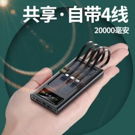 HAIMAITONG Power Bank Solar Power 2 Port USB LED 20000mAh with Micro + Lightning + USB Type C Cable - HA-4 - Black - 2
