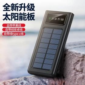 HAIMAITONG Power Bank Solar Power 2 Port USB LED 20000mAh with Micro + Lightning + USB Type C Cable - HA-4 - Black - 3