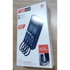 HAIMAITONG Power Bank Solar Power 2 Port USB LED 20000mAh with Micro + Lightning + USB Type C Cable - HA-4 - Black - 4