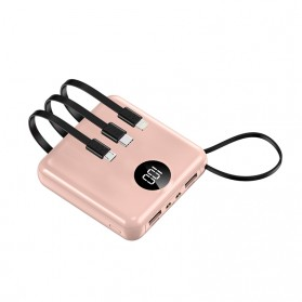 Tollcuudda Power Bank 2 Port USB LED 10000mAh with Micro + Lightning + USB Type C Cable - Tol3 - Pink - 1