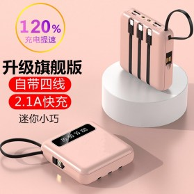 Tollcuudda Power Bank 2 Port USB LED 10000mAh with Micro + Lightning + USB Type C Cable - Tol3 - Pink - 4
