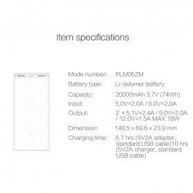 Xiaomi Power Bank 20000mAh Gen2C (ORIGINAL) - White - 6