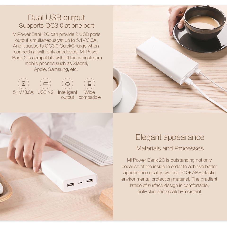 Xiaomi Power Bank 20000mah Gen2c Original White Hame H13d 2 Port 10000mah 5
