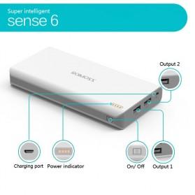 Romoss Sense 6 Power Bank 20000mAh (Replika 1:1) - White - 3
